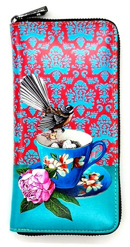 Leather Wallet - Fantail on a Teacup