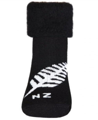Kiwiana Fern Bedsocks, Black