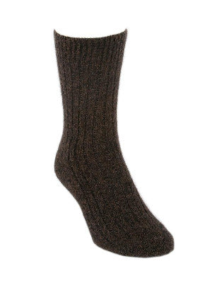 Lothlorian Possum & Merino Unisex Rib Socks, Brown