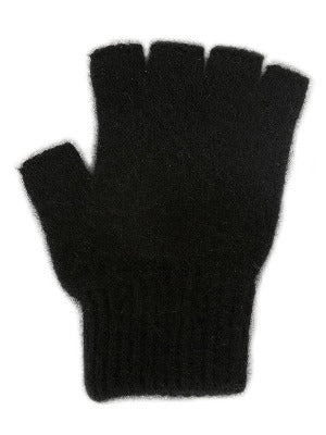 Lothlorian Possum & Merino Unisex Fingerless Gloves, Black