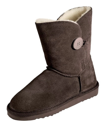 Ladies Button Boot - Mid Calf Sheepskin UGG Boots - Chocolate