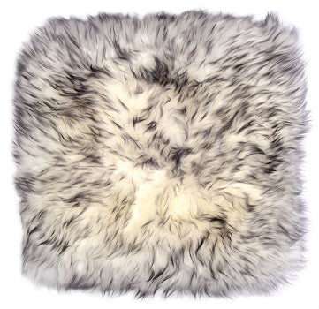 Sheepskin Cushion Cover - White With Black Tip