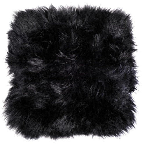 Sheepskin Cushion Cover - Black
