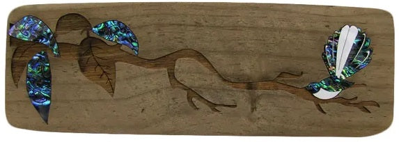 NZ Made Wood & Paua Wall Hanging - Fantail