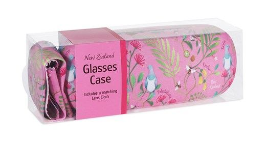 Glasses Case NZ Birds & Flowers Pink