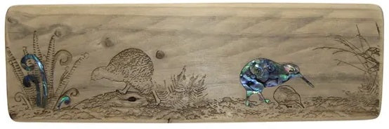NZ Made Wood & Paua Wall Hanging - Kiwi & Fern