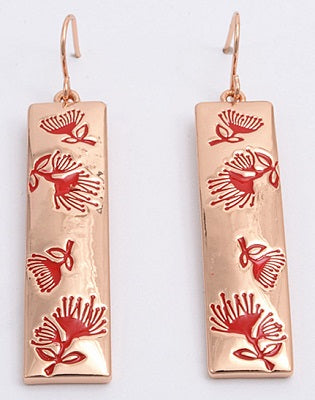 Red Pohutukawa Rose-Gold Plated Earrings