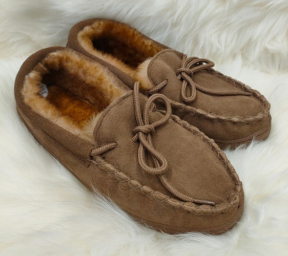 Moccasin Unisex Slippers - Tan
