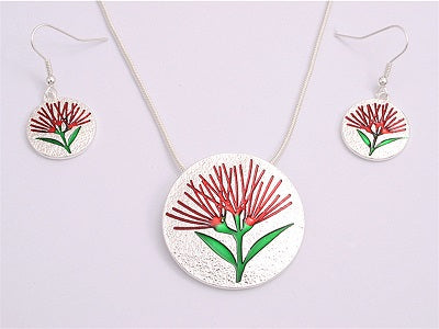 Red Pohutukawa Necklace and Earring Set - Silver plated