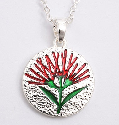 Red Pohutukawa Silver Necklace