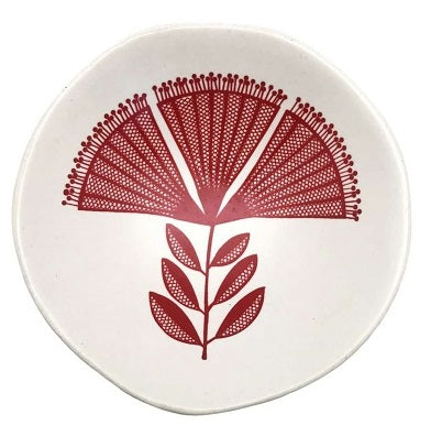 Red Pohutukawa Lace On White - Little Porcelain Dish