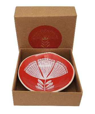 White Pohutukawa Lace On Red Porcelain Bowl