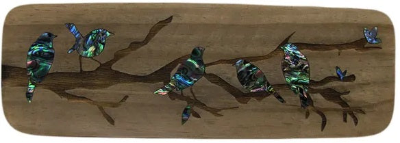NZ Made Wood & Paua Wall Hanging - Robins