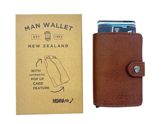 Mens Pop Up Wallet by Moana Rd - Brown