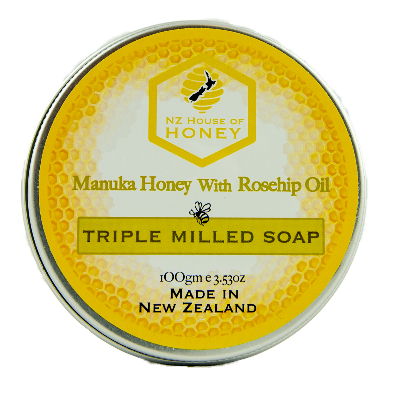 Manuka Honey with Rosehip Oil Triple Milled Soap 100gm Pot
