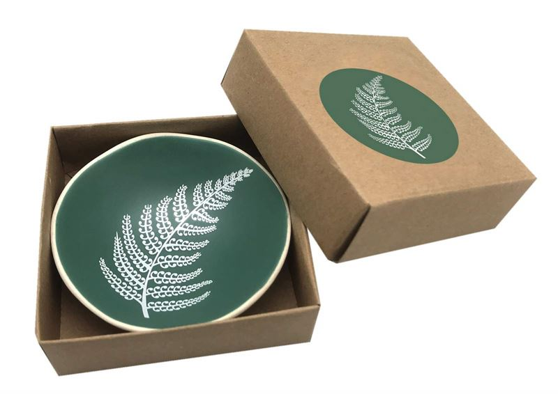 White Fern On Green - Little Porcelain Dish