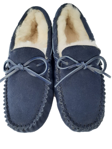 Moccasin Sheepskin Ladies Slipper, Denim