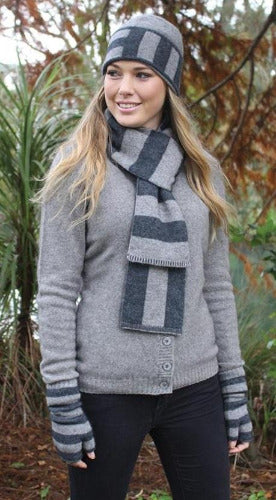 Lothlorian Possum & Merino Directional Stripe Beanie and Scarf - Silver