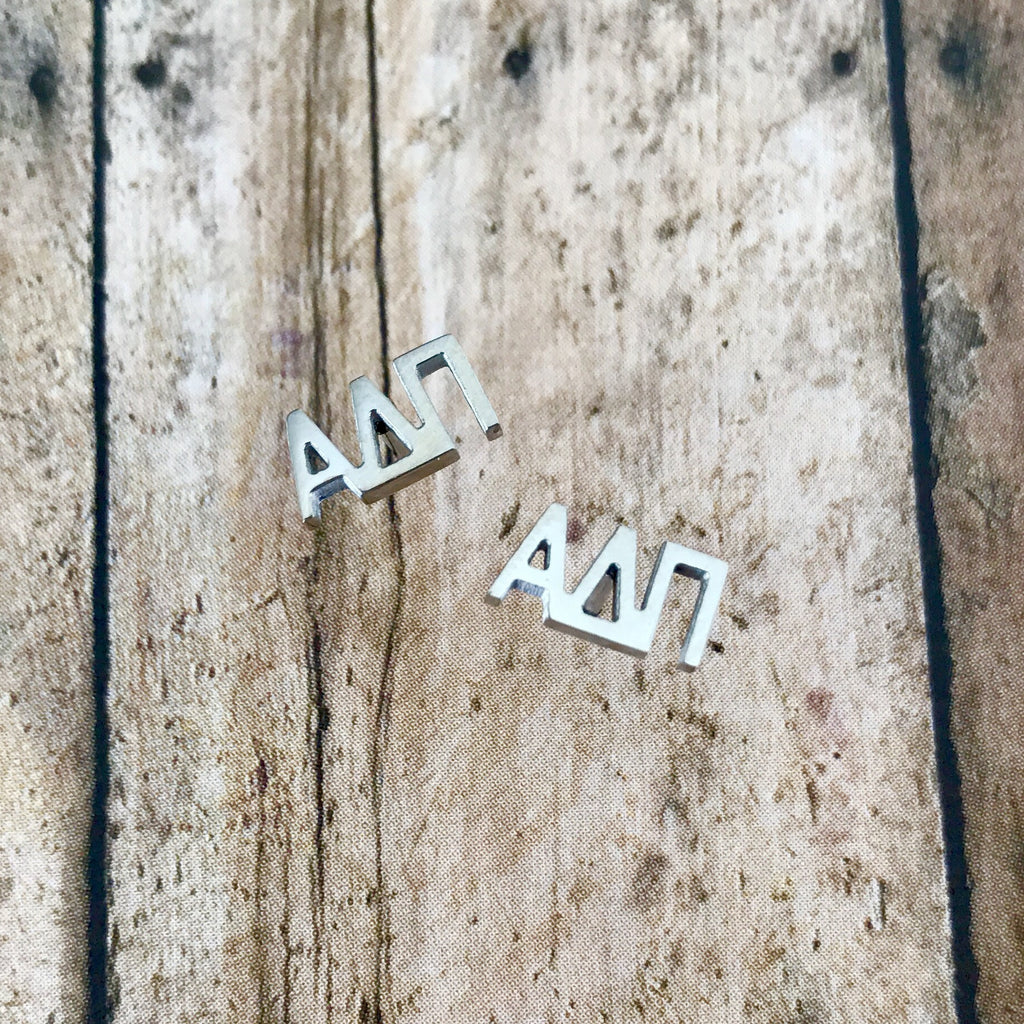Alpha Delta Pi Letter Stud Earrings (Silver)