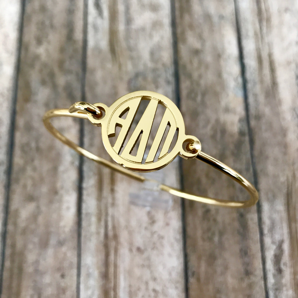 Alpha Delta Pi Monogram Style Bangle Bracelet (Gold)
