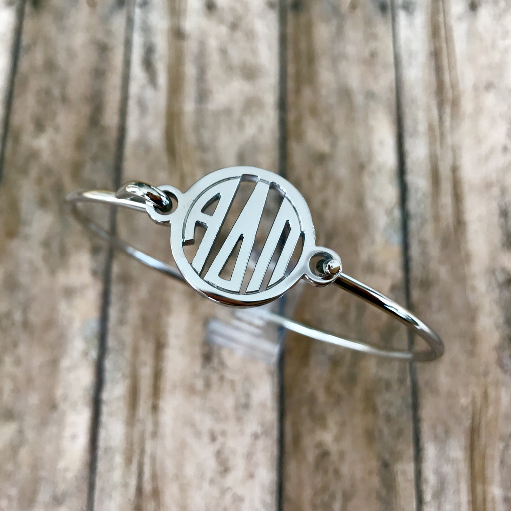 Alpha Delta Pi Monogram Style Bangle Bracelet (Silver)
