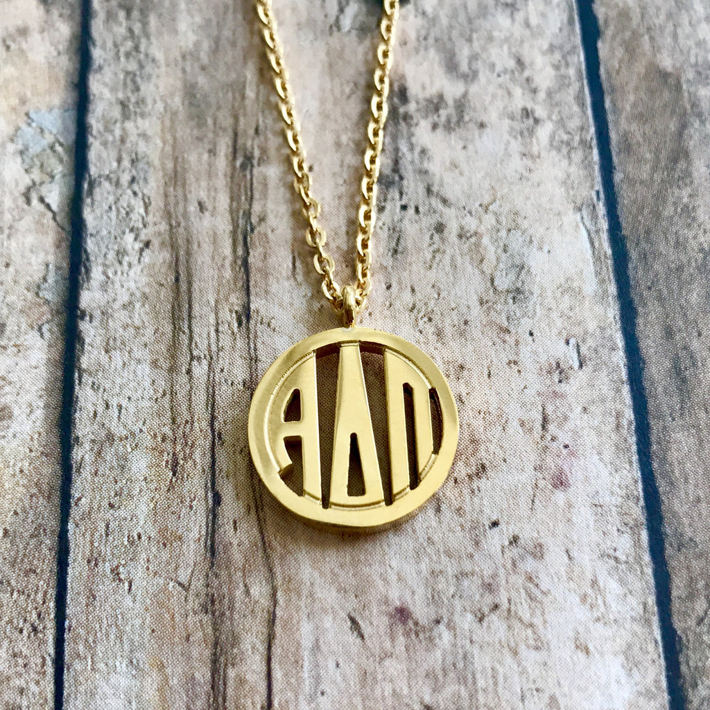 Alpha Delta Pi Monogram Style Necklace (Gold)