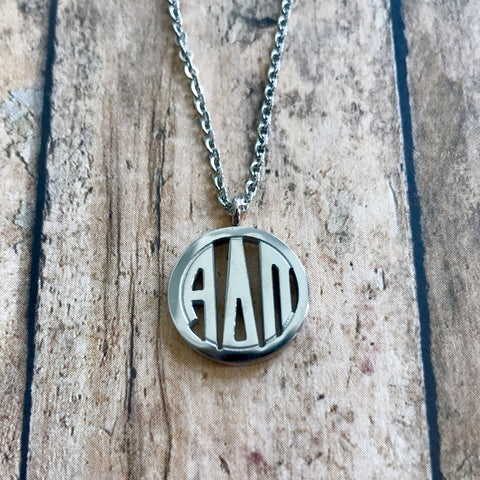 Alpha Delta Pi Monogram Style Necklace (Silver)