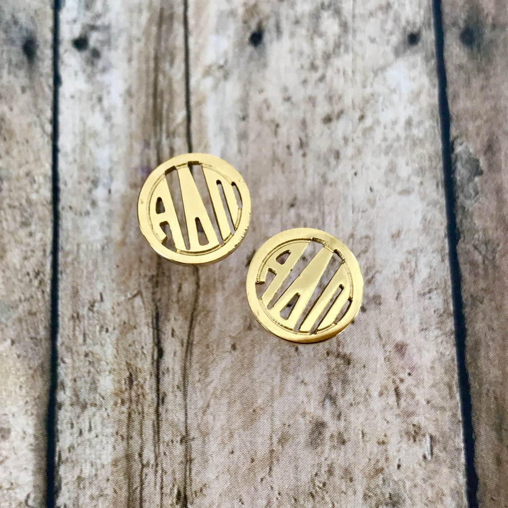 Alpha Delta Pi Monogram Style Stud Earrings (Gold)