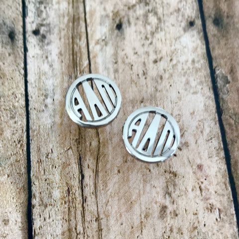Alpha Delta Pi Monogram Style Stud Earrings (Silver)