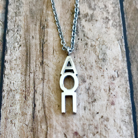 Alpha Omicron Pi Classic Letter Necklace (Silver)