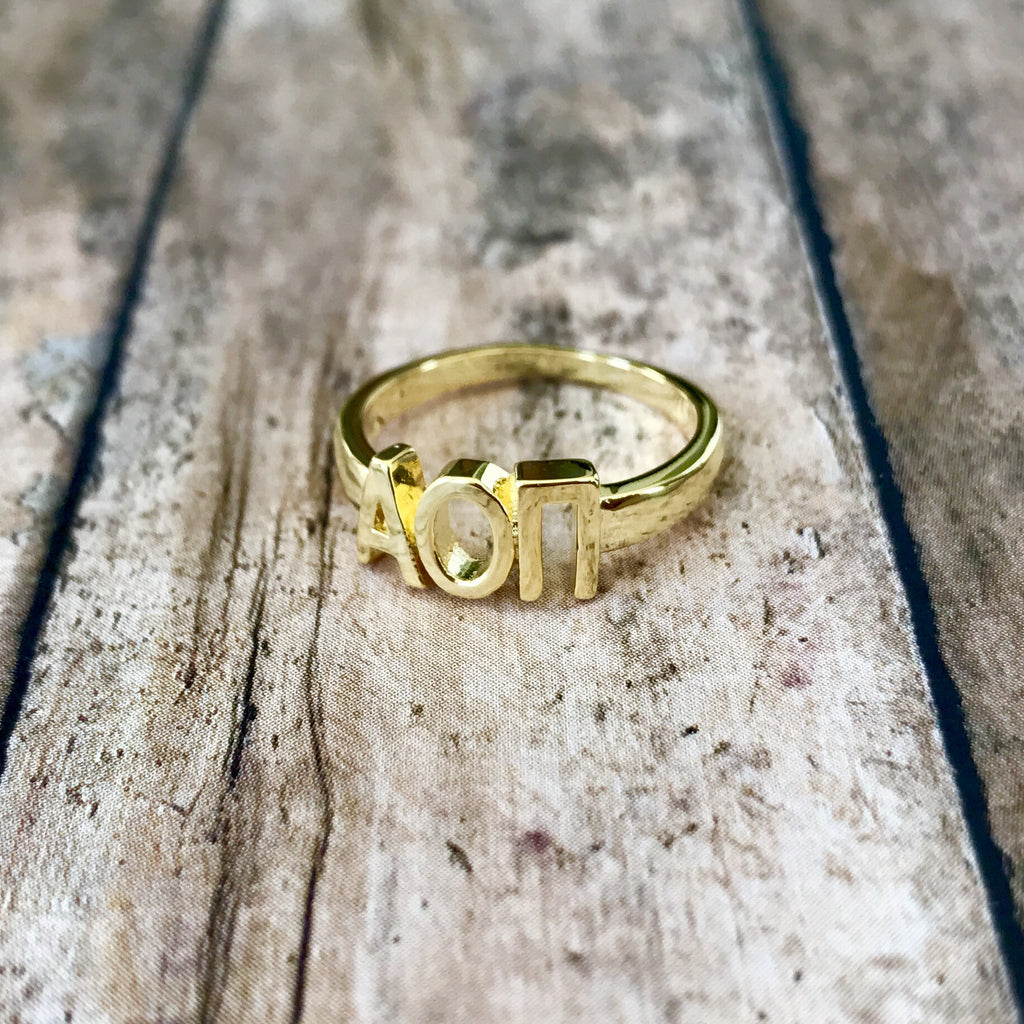 Alpha Omicron Pi Classic Letter Ring (Gold)