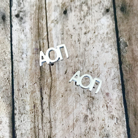 Alpha Omicron Pi Letter Stud Earrings (Silver)