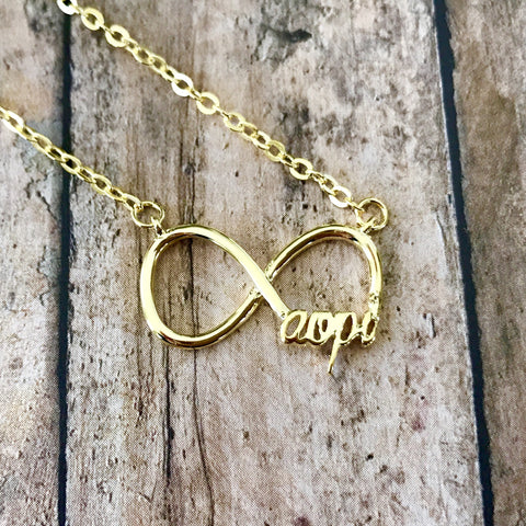 Alpha Omicron Pi Infinity Necklace (Gold)