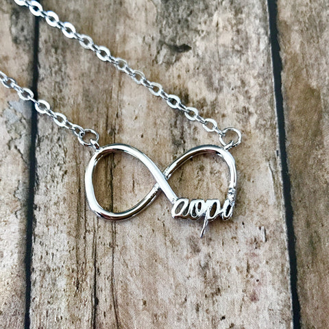 Alpha Omicron Pi Infinity Necklace (Silver)