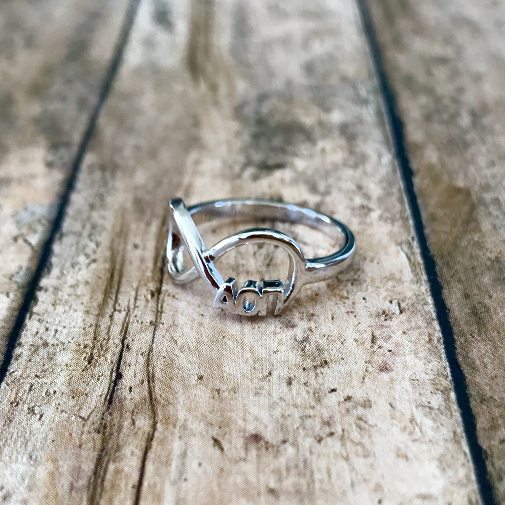 Alpha Omicron Pi Infinity Ring (Silver)