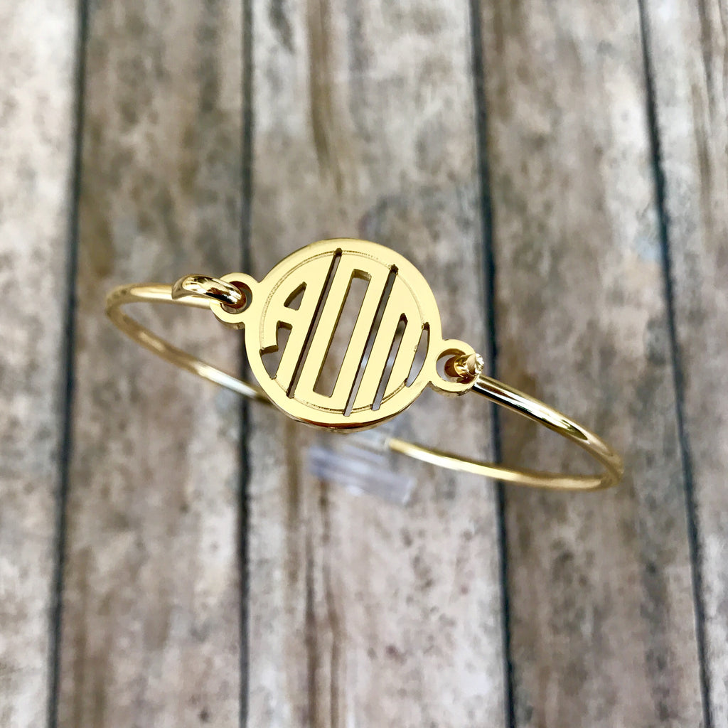 Alpha Omicron Pi Monogram Style Bangle Bracelet (Gold)