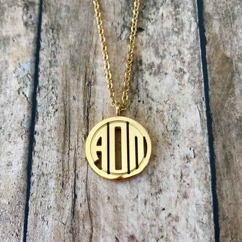 Alpha Omicron Pi Monogram Style Necklace (Gold)