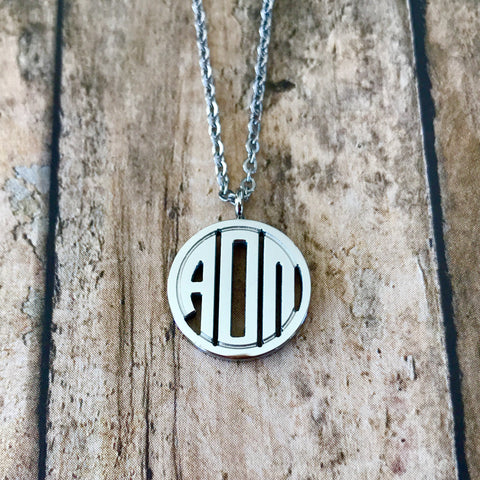 Alpha Omicron Pi Monogram Style Necklace (Silver)