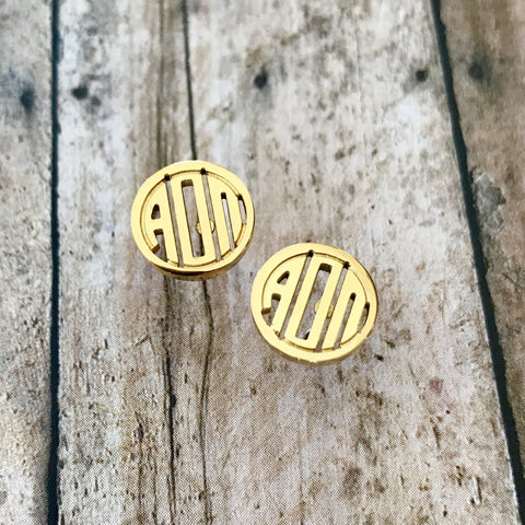 Alpha Omicron Pi Monogram Style Stud Earrings (Gold)