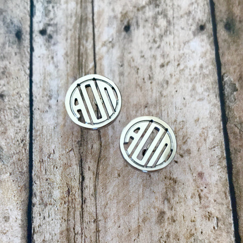 Alpha Omicron Pi Monogram Style Stud Earrings (Silver)
