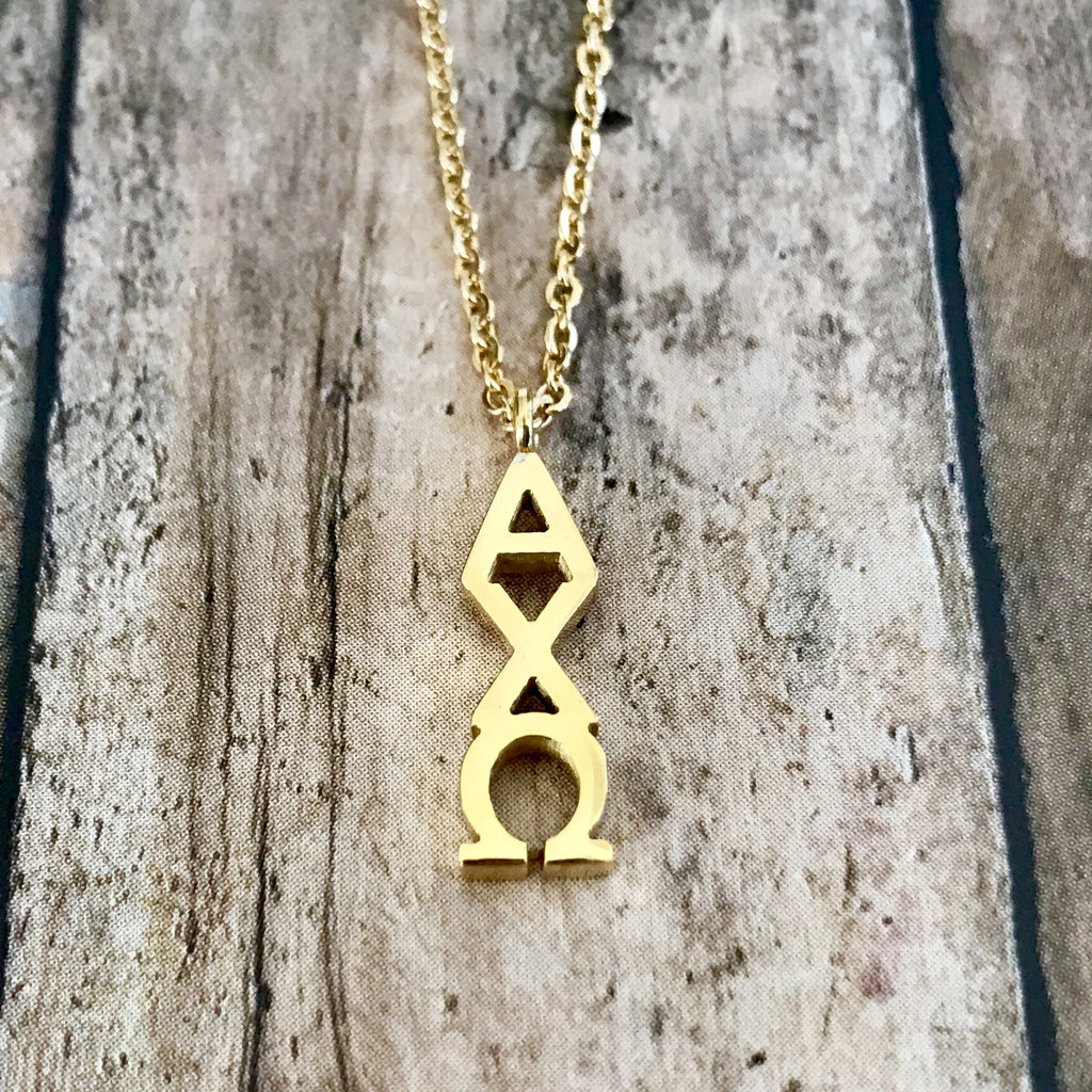 Alpha Chi Omega Classic Letter Necklace (Gold)