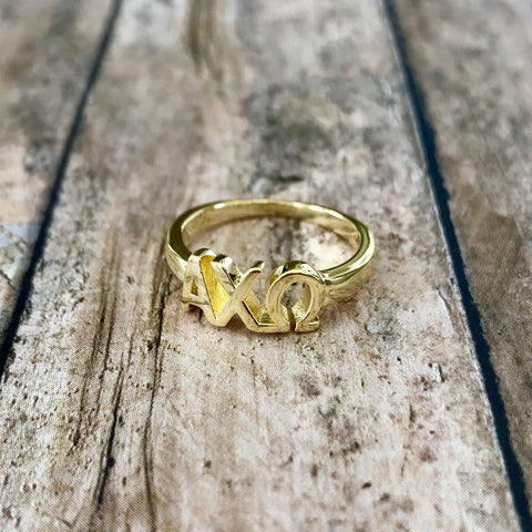 Alpha Chi Omega Classic Letter Ring (Gold)