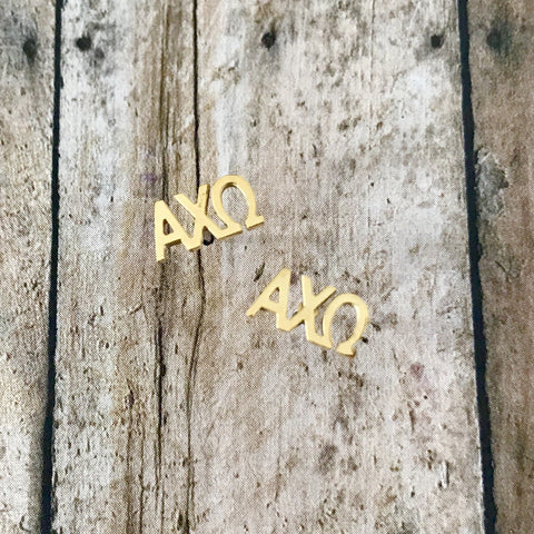 Alpha Chi Omega Letter Stud Earrings (Gold)