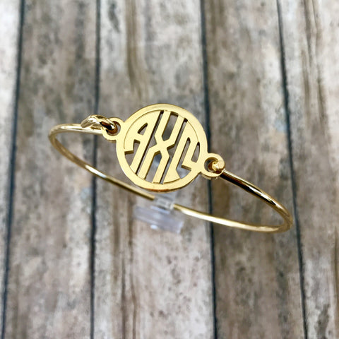 Alpha Chi Omega Monogram Style Bangle Bracelet (Gold)