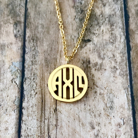 Alpha Chi Omega Monogram Style Necklace (Gold)