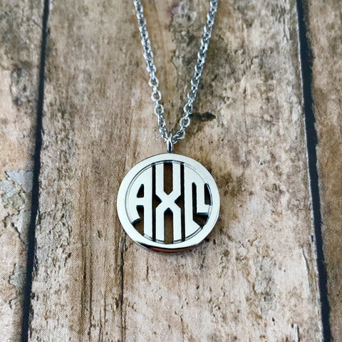 Alpha Chi Omega Monogram Style Necklace (Silver)