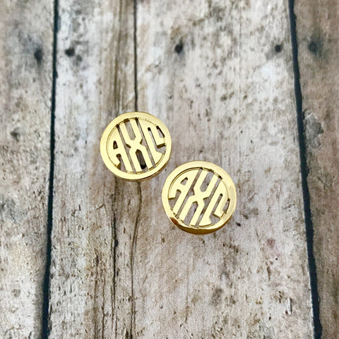 Alpha Chi Omega Monogram Style Stud Earrings (Gold)
