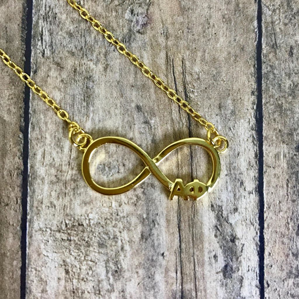 Alpha Phi Infinity Necklace (Gold)