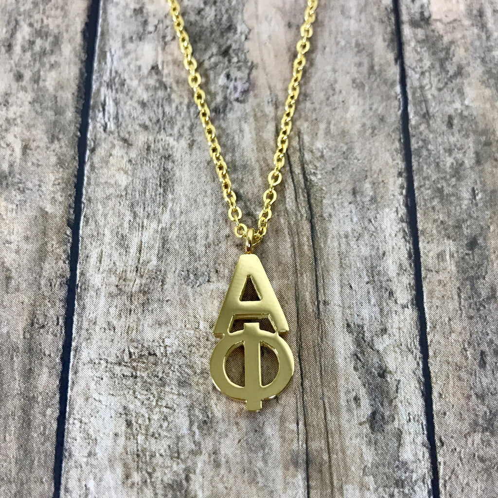 Alpha Phi Classic Letter Necklace (Gold)