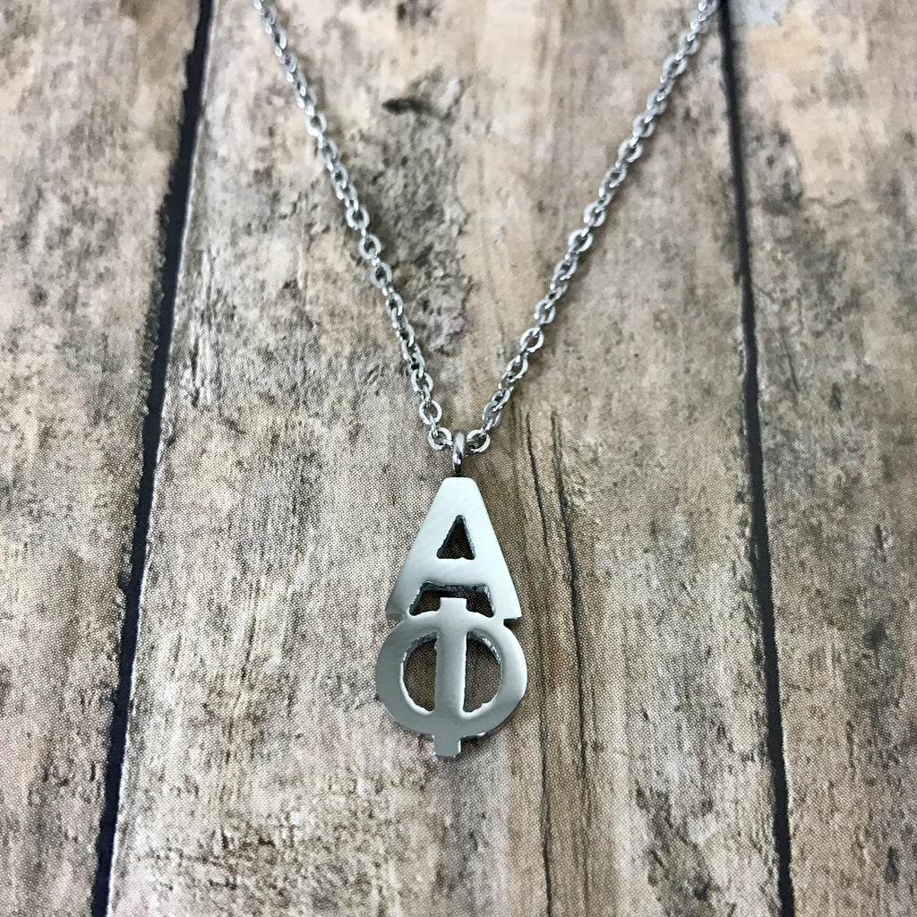 Alpha Phi Classic Letter Necklace (Silver)
